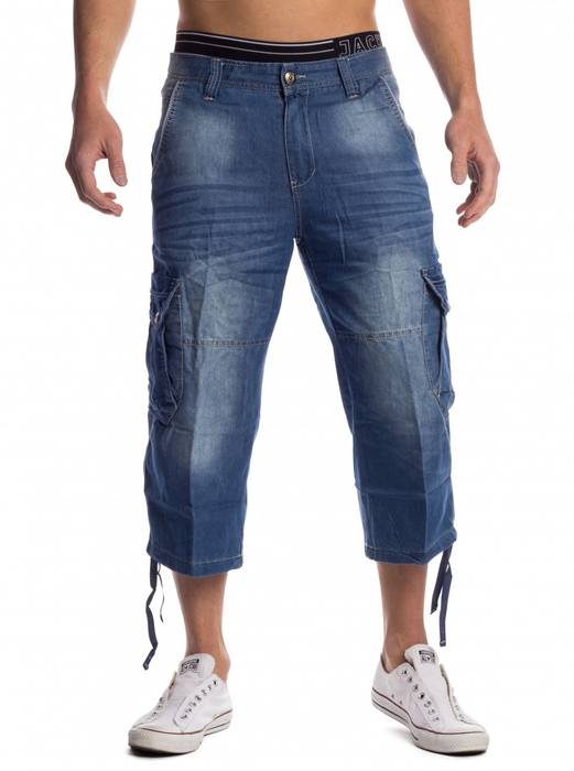 Herren Cargo-Shorts   (Casual Fit) 7/8 Denim Cargo Sommer Freizeit Bermuda Shorts 3/4 Capri Hose Kurze Walkshort aus Baumwoll-Polyester Mix mit leichter Waschung (Stone Washed)   H1481 von Max Men – Bild 2