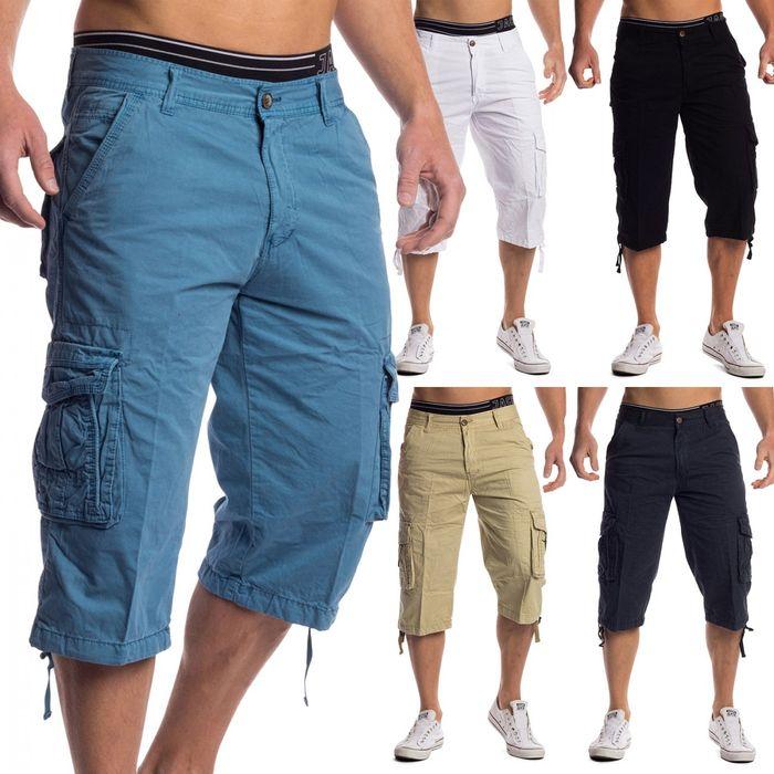 Herren Cargo-Shorts | (Regular Fit) 3/4 Bermuda Sommer Cargo Short Freizeit Einfarbige Outdoor Hose Capri Walkshort aus reiner Baumwolle, Unifarben | H1487 in Markenqualität
