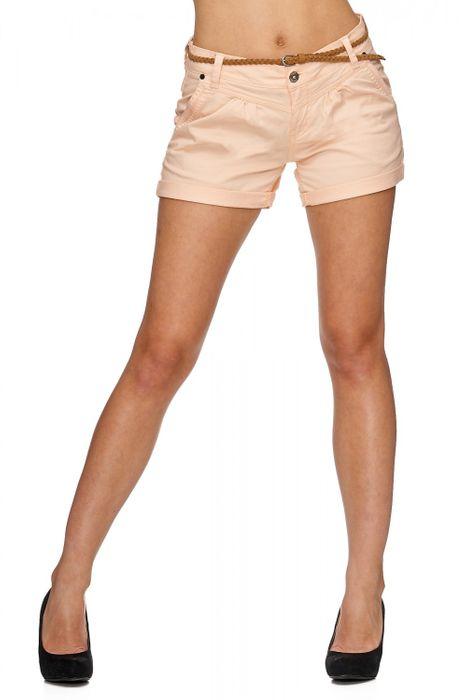 Damen Shorts Kurze Chino Jeans Bermuda Hose Hotpants Gürtel D1527 – Bild 1
