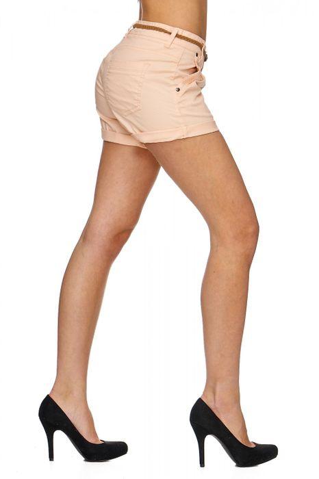Damen Shorts Kurze Chino Jeans Bermuda Hose Hotpants Gürtel D1527 – Bild 2
