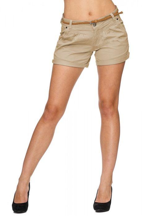 Damen Shorts Kurze Chino Jeans Bermuda Hose Hotpants Gürtel D1527 – Bild 6