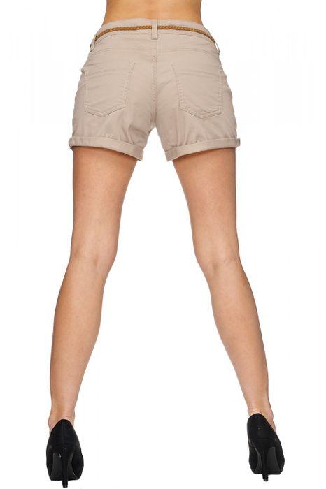 Damen Shorts Kurze Chino Jeans Bermuda Hose Hotpants Gürtel D1527 – Bild 5