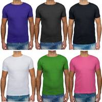 Herren T Shirt Basic O-Neck Einfarbig Uni V-Neck H1530