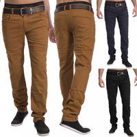 Herren Stoff Hose Chino Jeans Pants Tapered Leg H1534