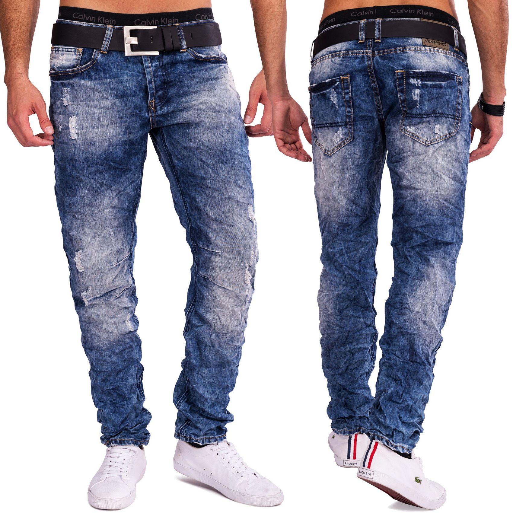 jeansnet herren destroyed denim crinkle knitter effekt. Black Bedroom Furniture Sets. Home Design Ideas