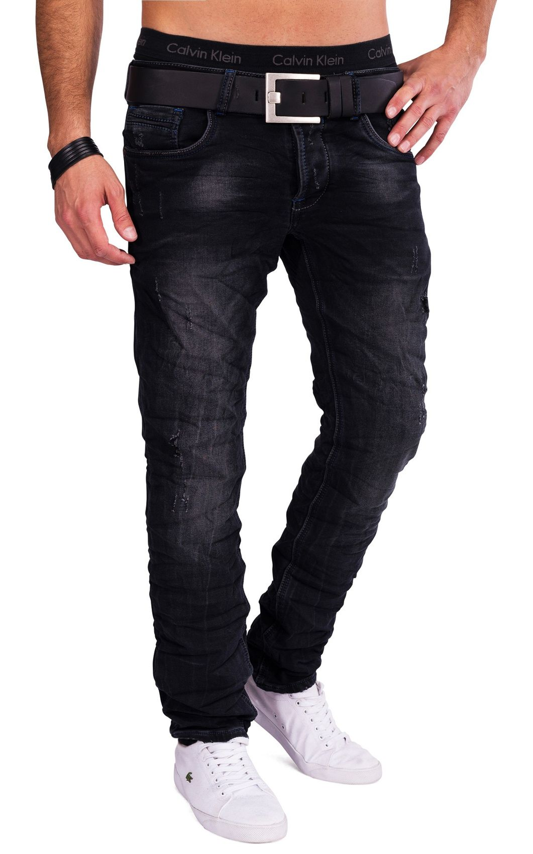 herren one public jeans schwarz destroyed denim slim fit zerissen used look ebay. Black Bedroom Furniture Sets. Home Design Ideas