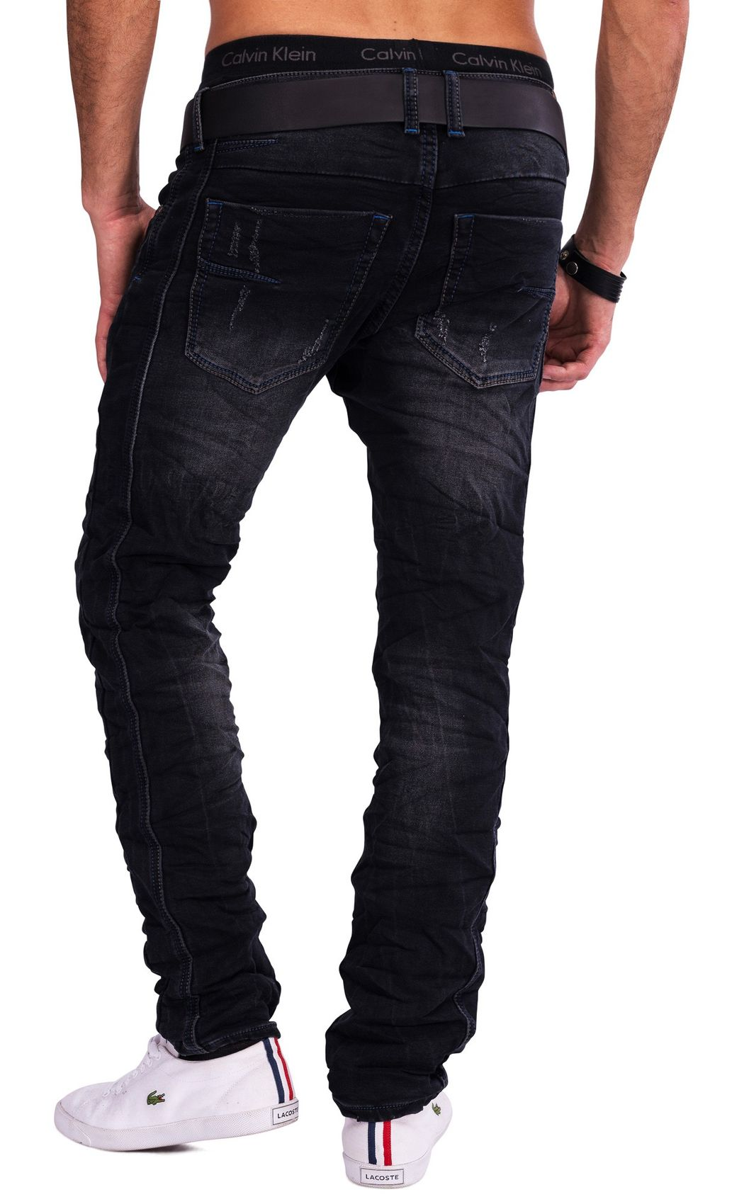 herren one public jeans dawn schwarz destroyed denim slim fit zerissen used look ebay. Black Bedroom Furniture Sets. Home Design Ideas