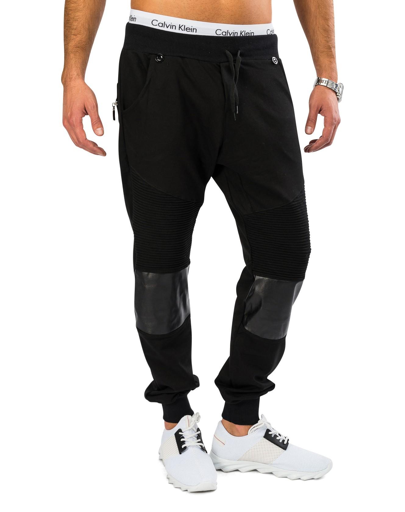 Herren-Jogginghose-mit-Hosentraegern-Harem-Style-Leder-Patches-Trend-Freizeithose