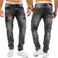Herren Jeans | (Tapered Fit) Dunkle Cargo Jeanshose Stretch mit Zip-Taschen an den Seiten, Used Denim Acid Washed | H1609 in Markenqualität
