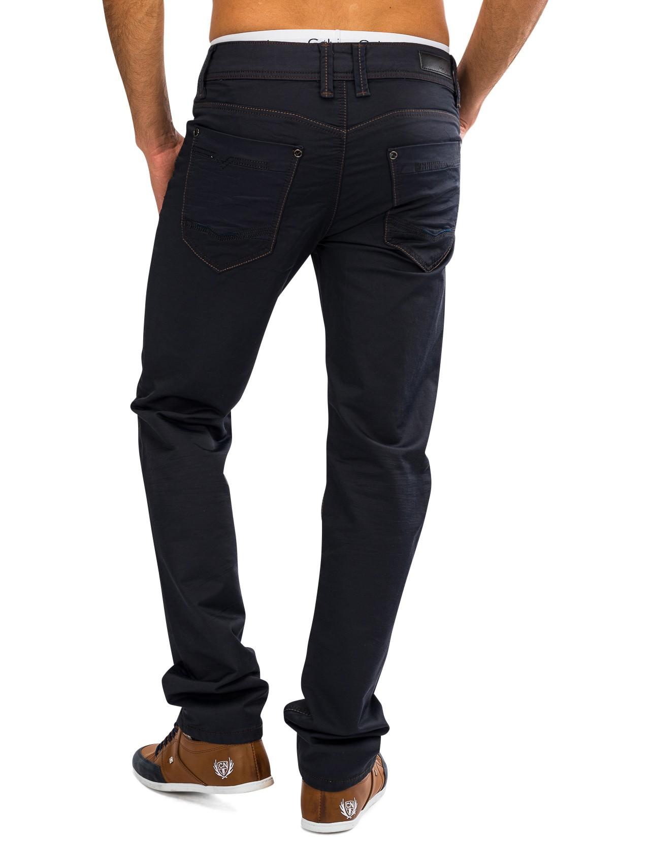 herren coated denim blau jeans stoffhose hose gl nzend chino straight ebay. Black Bedroom Furniture Sets. Home Design Ideas