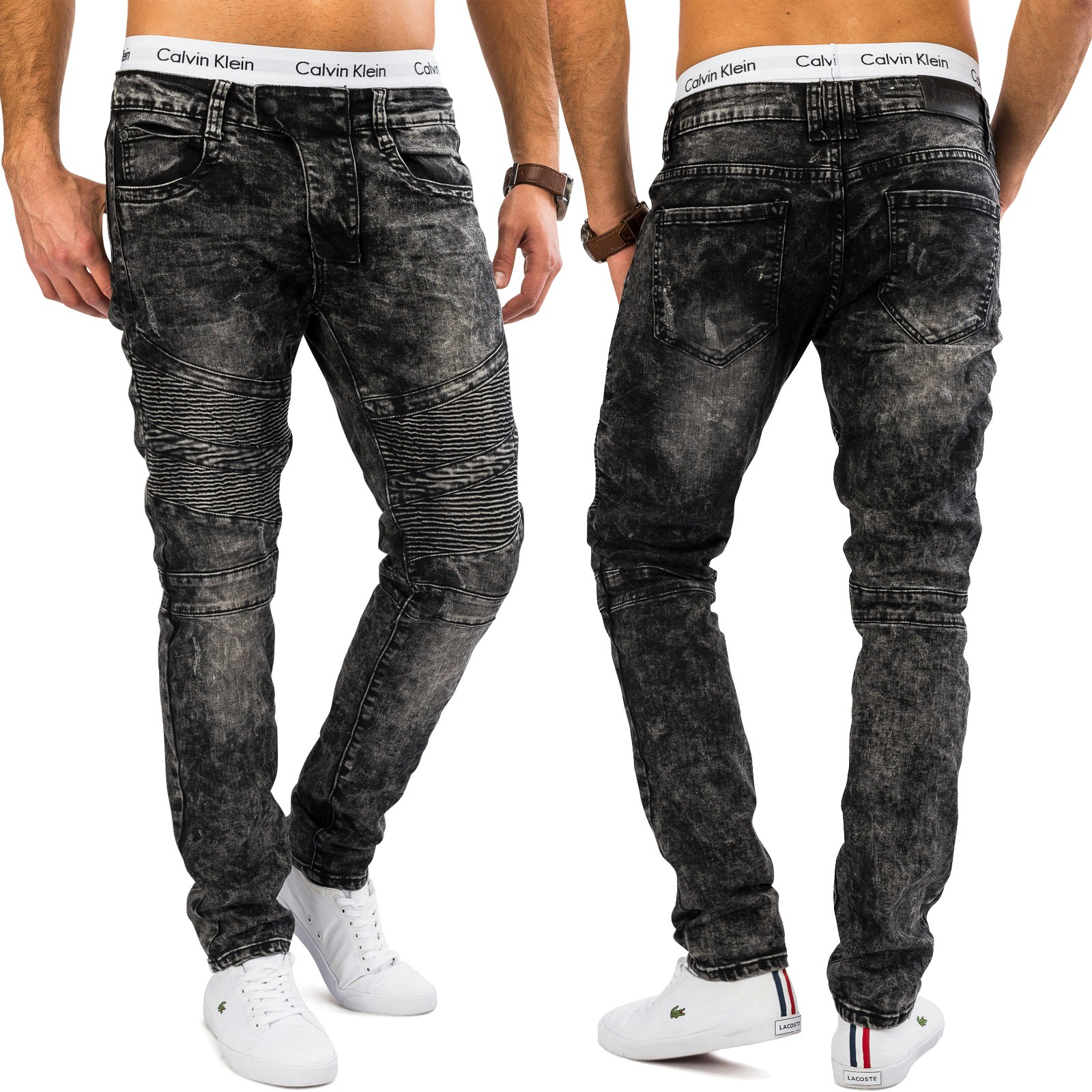 herren biker jeans lasse acid wash tapered fit skinny denim style hose grau ebay. Black Bedroom Furniture Sets. Home Design Ideas