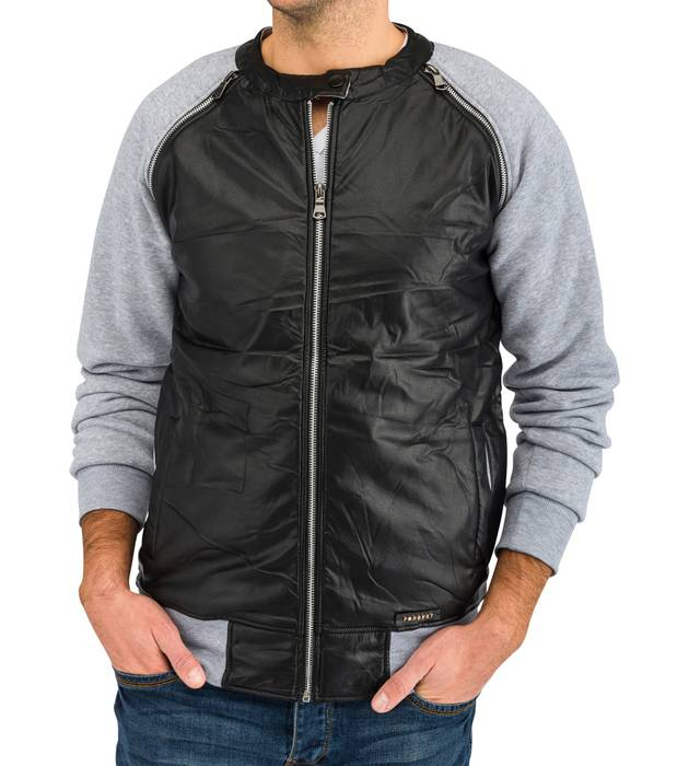 Herren Übergangsjacke | (Regular Fit) Blouson Sweat Zip Jacke mit Details in Leder Optik | H1639 in Markenqualität – Bild 12