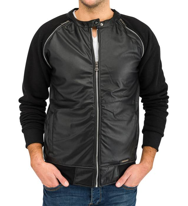 Herren Übergangsjacke | (Regular Fit) Blouson Sweat Zip Jacke mit Details in Leder Optik | H1639 in Markenqualität – Bild 5