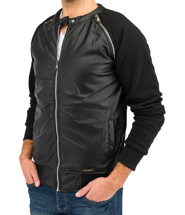 Herren Übergangsjacke | (Regular Fit) Blouson Sweat Zip Jacke mit Details in Leder Optik | H1639 in Markenqualität – Bild 2
