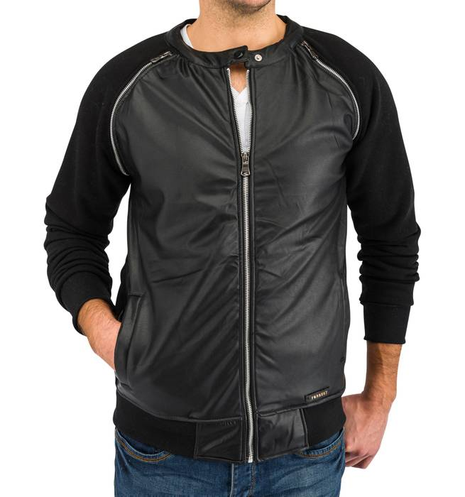 Herren Übergangsjacke | (Regular Fit) Blouson Sweat Zip Jacke mit Details in Leder Optik | H1639 in Markenqualität – Bild 3
