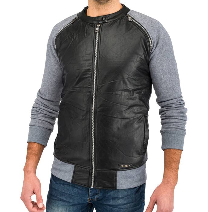 Herren Übergangsjacke | (Regular Fit) Blouson Sweat Zip Jacke mit Details in Leder Optik | H1639 in Markenqualität – Bild 8