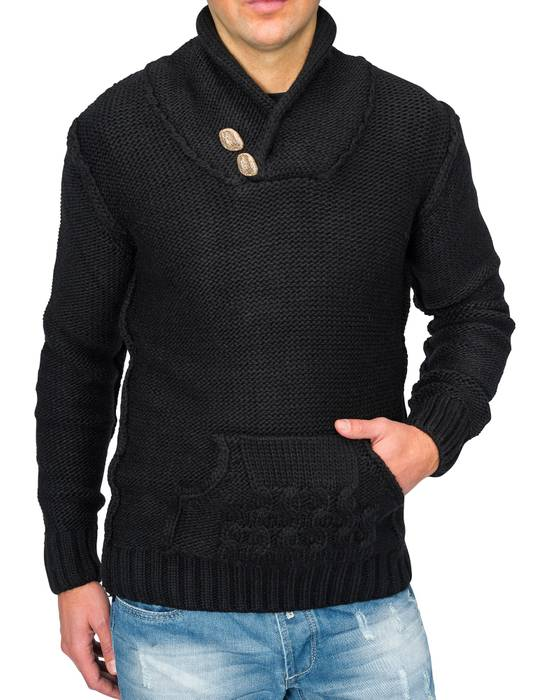 Herren Strick-Pullover | Regular Fit · Cardigan · Strick Jacke mit Funnel-Neck · Grobstrick · Knebel Verschluss · Knöpfe in Holz-Optik · Norweger Style | H1671 in Markenqualität – Bild 4