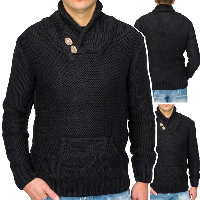 Herren Strick-Pullover | Regular Fit · Cardigan · Strick Jacke mit Funnel-Neck · Grobstrick · Knebel Verschluss · Knöpfe in Holz-Optik · Norweger Style | H1671 in Markenqualität – Bild 1