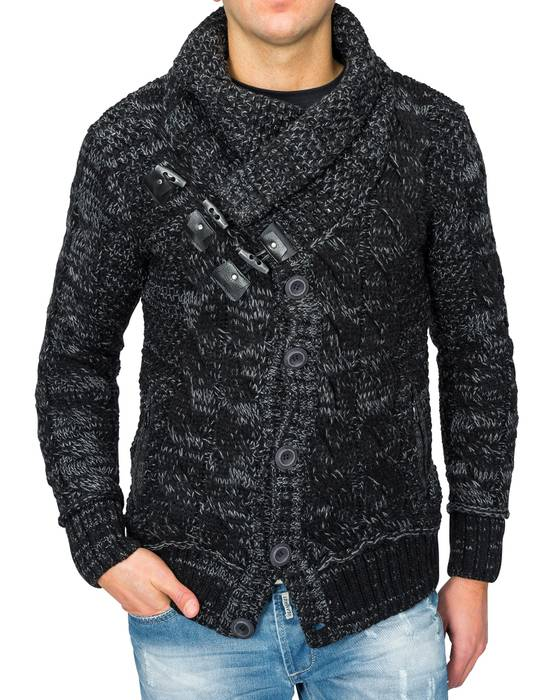 Herren Strick-Pullover | Regular Fit · Cardigan · Strick-Jacke mit Funnel-Neck · Grobstrick · Knebel-Verschluss · Knöpfe · Leder-Details · Norweger Style | H1672 in Markenqualität – Bild 2