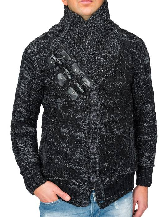 Herren Strick-Pullover | Regular Fit · Cardigan · Strick-Jacke mit Funnel-Neck · Grobstrick · Knebel-Verschluss · Knöpfe · Leder-Details · Norweger Style | H1672 in Markenqualität – Bild 4
