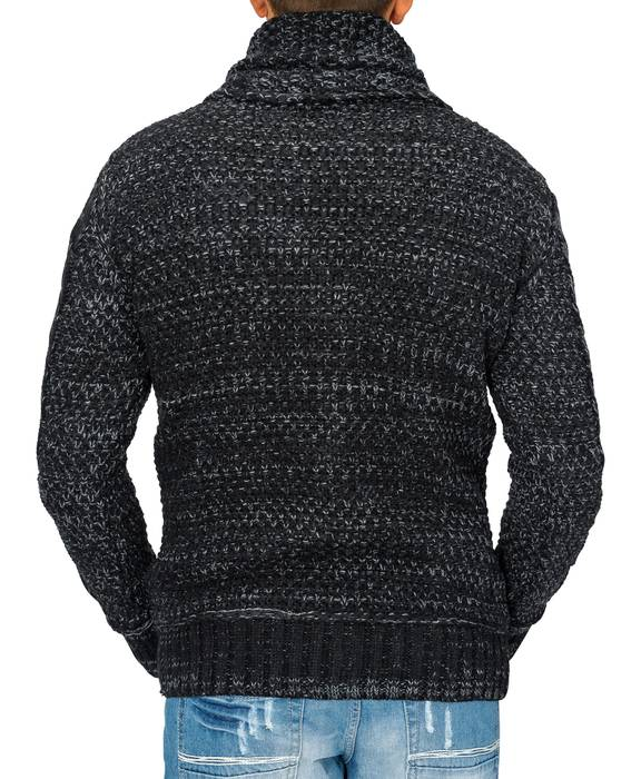Herren Strick-Pullover | Regular Fit · Cardigan · Strick-Jacke mit Funnel-Neck · Grobstrick · Knebel-Verschluss · Knöpfe · Leder-Details · Norweger Style | H1672 in Markenqualität – Bild 3