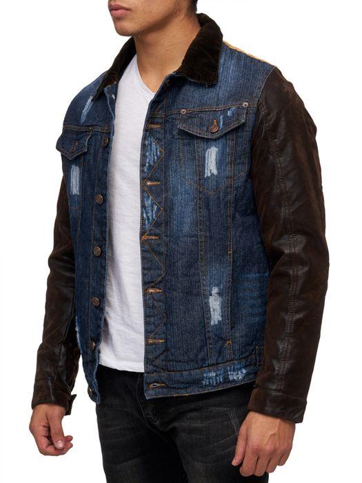 Herren Übergangsjacke Jeans Leder Ärmel Mix Jacke Destroyed H1678 – Bild 7