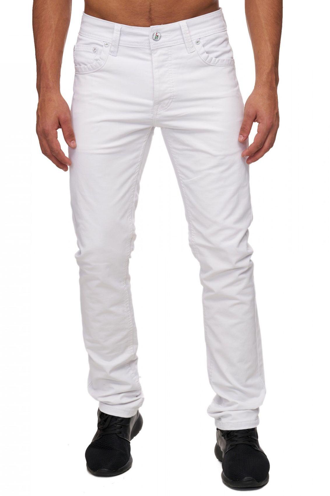herren slim fit jeans hose wei six pocket style zip. Black Bedroom Furniture Sets. Home Design Ideas