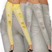Damen Jeans Hüfthose Stretch Röhre Destroyed D1700
