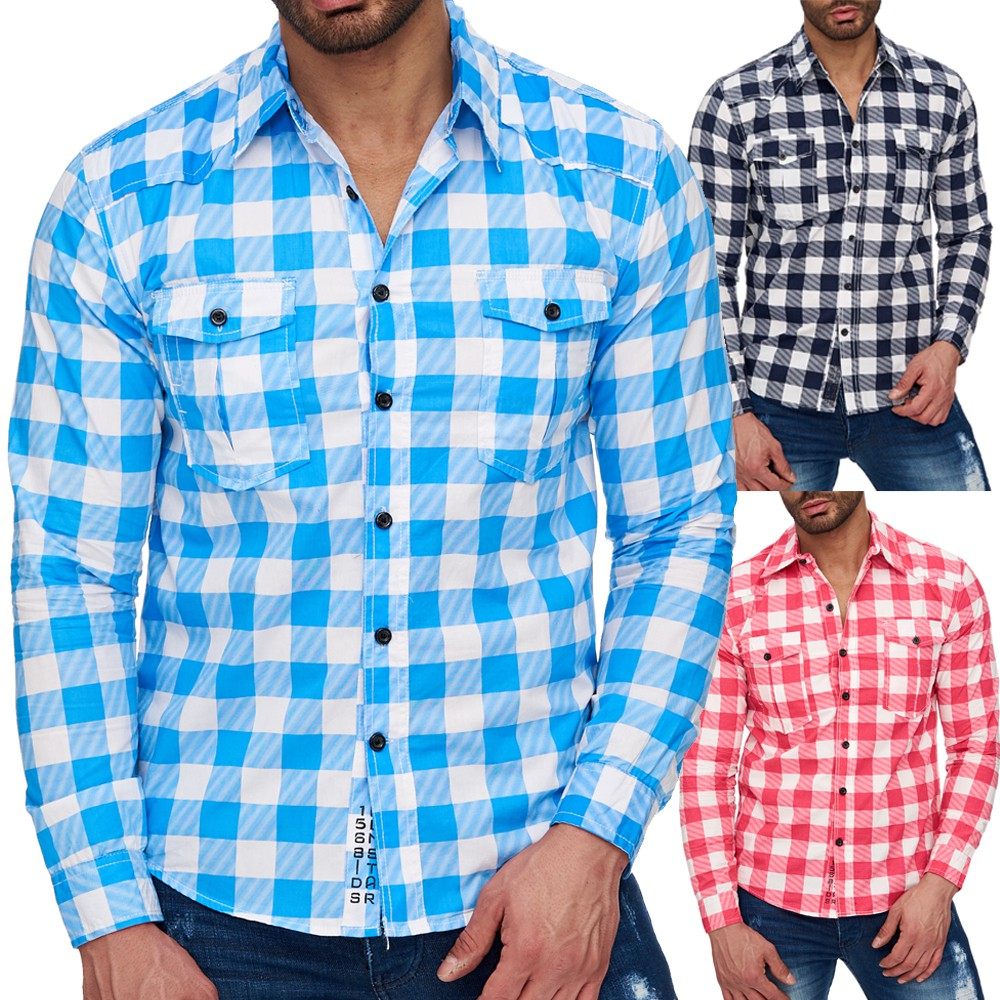 herren langarm hemd myland kariert polo shirt freizeithemd. Black Bedroom Furniture Sets. Home Design Ideas