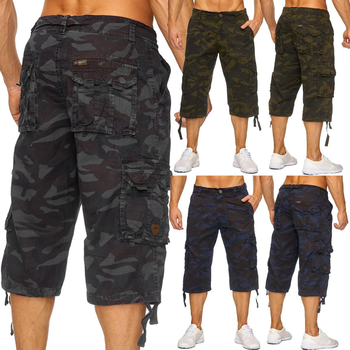Herren Army Camouflage 3 4 Cargo Shorts kurze Hose Tarnmuster Caprihose  Bermudas - Nr 1739 ad214500f3