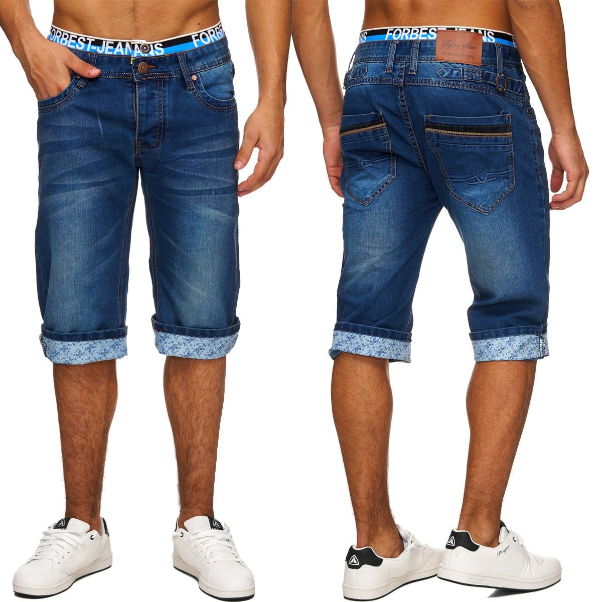 5110ca0b036532 Herren Bermuda Denim Shorts Jeansshorts lang Jeans Washed Hose blau 3/4  Plus - Nr 1748