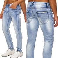 Herren Jeans | (Slim Fit) Helle Jeanshose Stretch Bleached Used Denim, Stone Washed | H1761 in Markenqualität