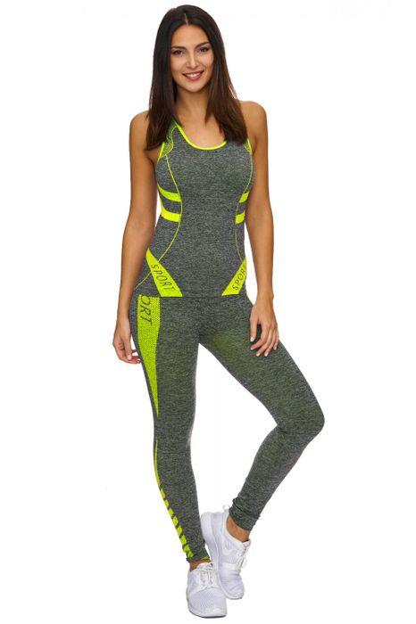 Damen Trainingsanzug   (Stretch) Zweiteilige Sport Kombi fürs GYM als Komplett Set bestehend aus Tank Top und Leggings   D1771 in Markenqualität – Bild 2
