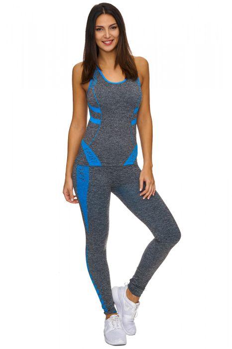 Damen Trainingsanzug   (Stretch) Zweiteilige Sport Kombi fürs GYM als Komplett Set bestehend aus Tank Top und Leggings   D1771 in Markenqualität – Bild 17