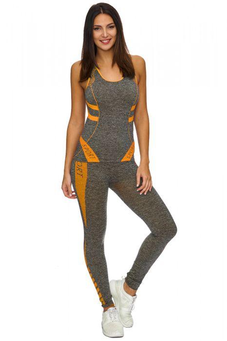 Damen Trainingsanzug   (Stretch) Zweiteilige Sport Kombi fürs GYM als Komplett Set bestehend aus Tank Top und Leggings   D1771 in Markenqualität – Bild 22