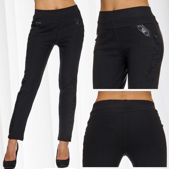 Damen Treggings | (Slim Fit) Stretch-Hose mit Spitze und Kunstleder-Details, elastischem Bund und leichtem Shaping-Effekt, Regular Waist | D1779 in Markenqualität – Bild 1