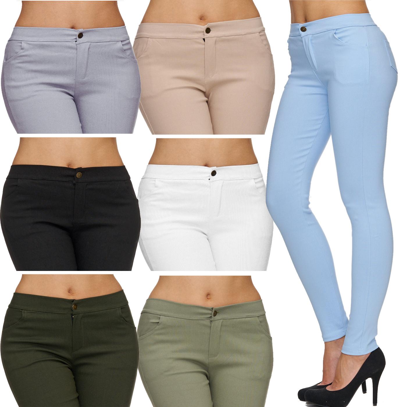 Damen Jeans Hose Legging Röhrenjeans Skinny Stretch Denim hoher Bund Tregging
