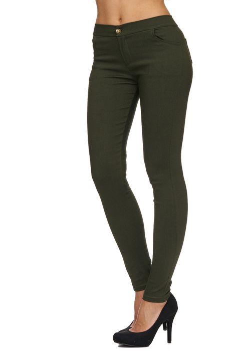 Damen Treggings Basic Hose Jeggings Jeans Hüfthose D1783 – Bild 18