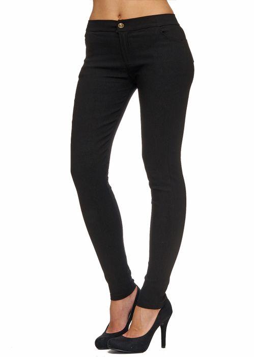 Damen Treggings Basic Hose Jeggings Jeans Hüfthose D1783 – Bild 12