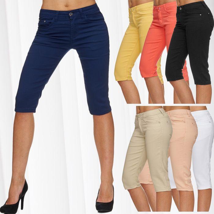 Damen Shorts Sommer Capri Hose 3/4 Länge D1784 – Bild 1