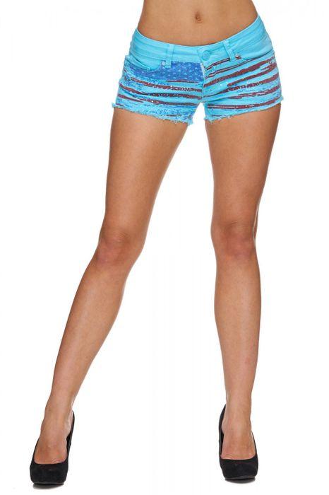 Damen Jeans Shorts Kurze Hose Hot Pants Ausgefranst Print D1788 – Bild 5