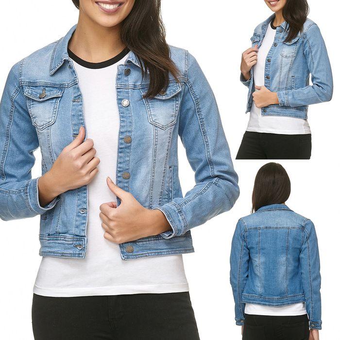 Damen Jeans Jacke Basic Denim Übergangsjacke Used Kurz D1795 – Bild 1