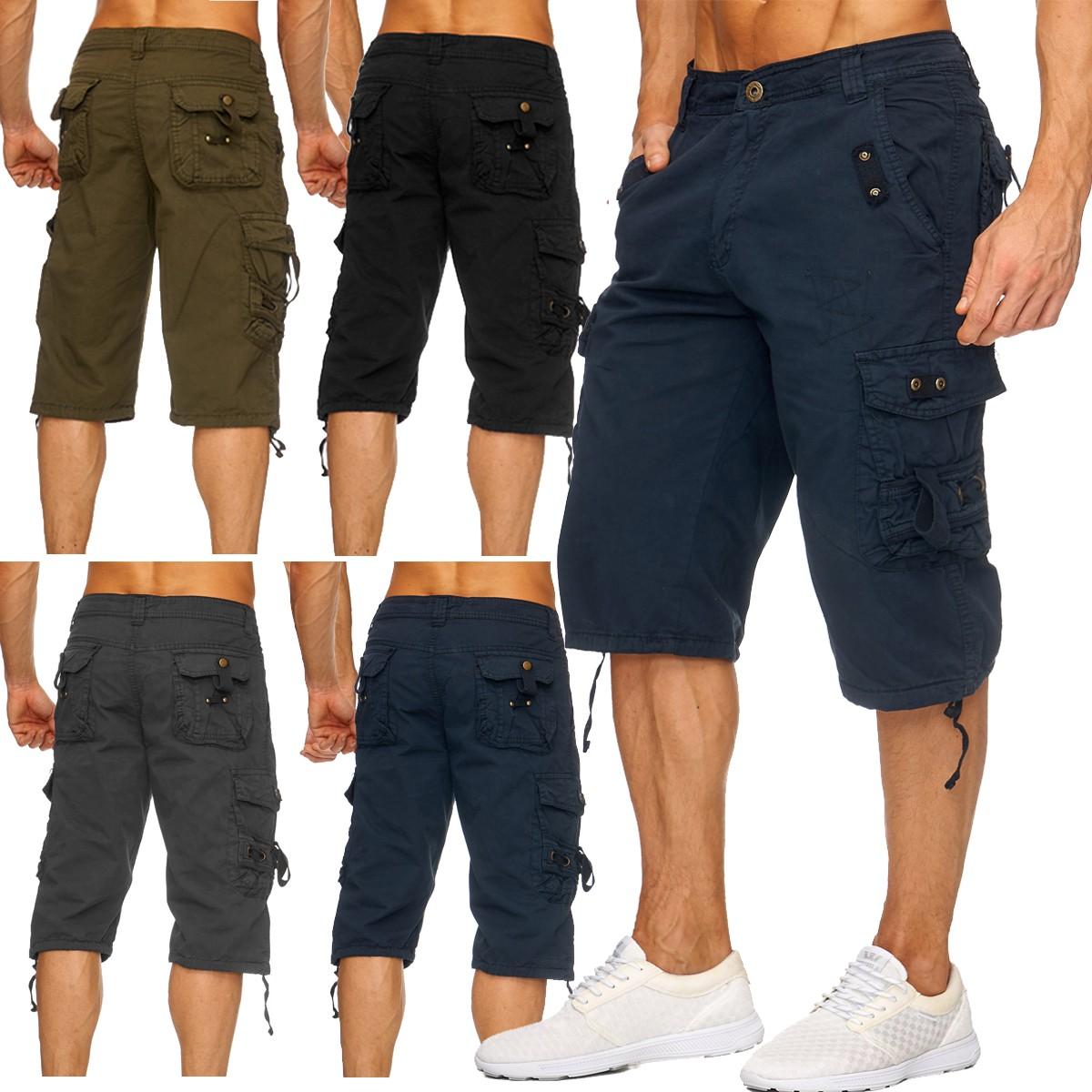 herren cargo pants sommer capri shorts bermuda 3 4 locker taschen hose kurz neu ebay. Black Bedroom Furniture Sets. Home Design Ideas
