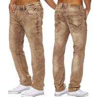 Jaylvis Herren Jeans Hose Stretch Bleached Straight Leg Used H1813