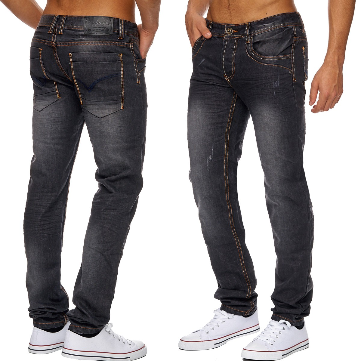 herren jeans classic ziernaht grau ronny 1817. Black Bedroom Furniture Sets. Home Design Ideas