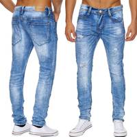 Herren Jeans | (Regular Fit) Jeanshose Risse Denim aus Stretch Material mit leichter Waschung (Stone washed) und geradem Bein (Straight Leg), Löcher, Destroyed | H1819 in Markenqualität