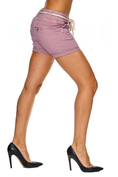 Sublevel Damen Shorts Kurze Chino Sommer Hüfthose Hot Pants Flechtgürtel D1825 – Bild 9