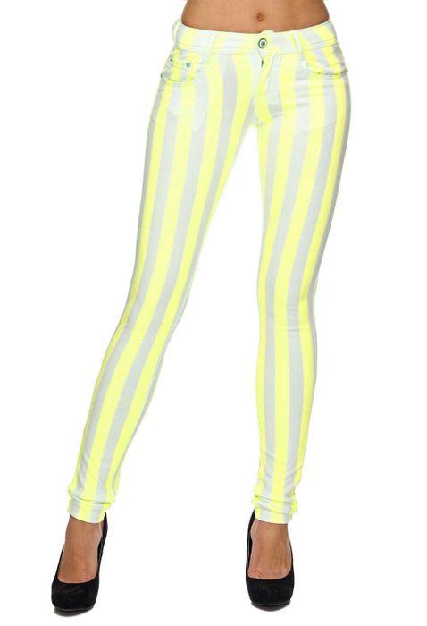 Damen Treggings Gestreifte Röhre Jeans Hose Pastell Shaping-Effekt D1834 – Bild 9