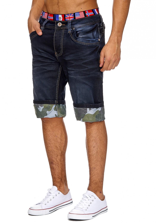Herren Jeans Hose stonewashed Klassisch gerade shorts sommer Flagge USA Neu Top