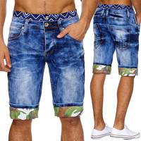Jaylvis Herren Jeans Shorts Bermuda Kurze Hose Camouflage Saum H1867